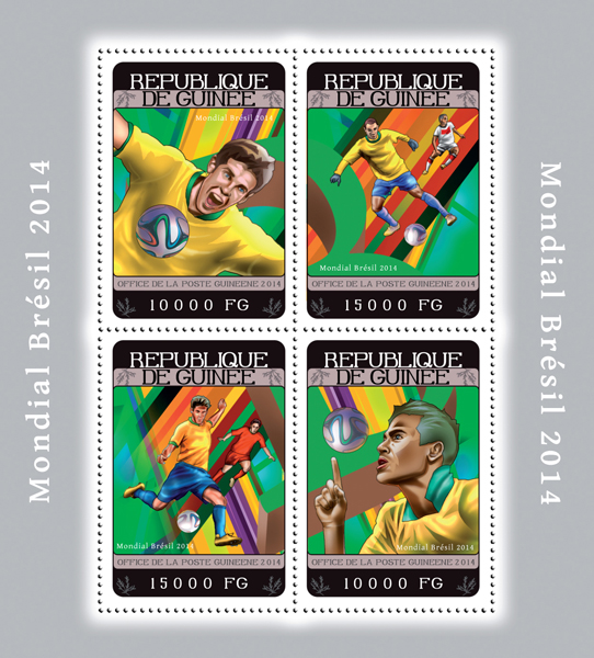 Football Brazil 2014  - Issue of Guinée postage stamps