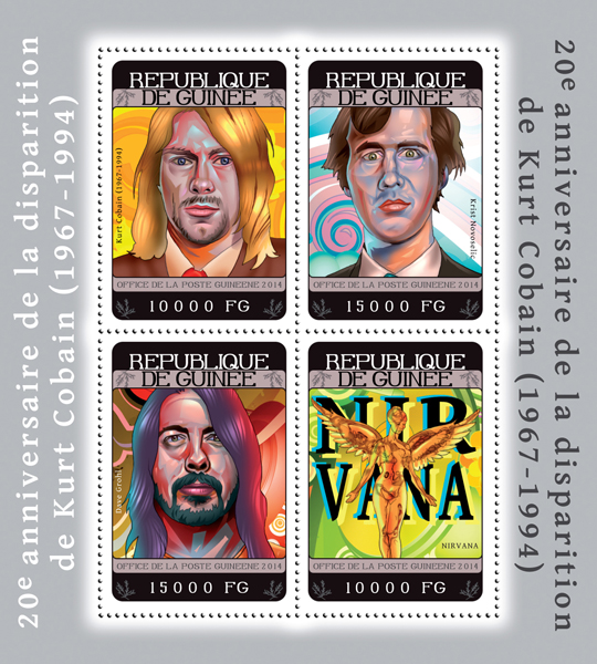 Kurt Cobain - Issue of Guinée postage stamps