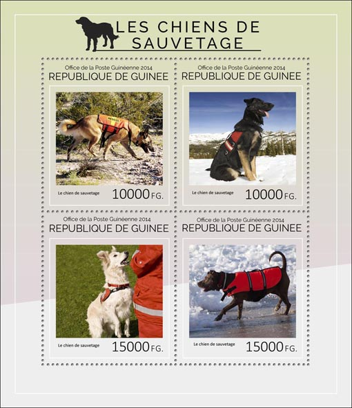 Rescue dogs - Issue of Guinée postage stamps