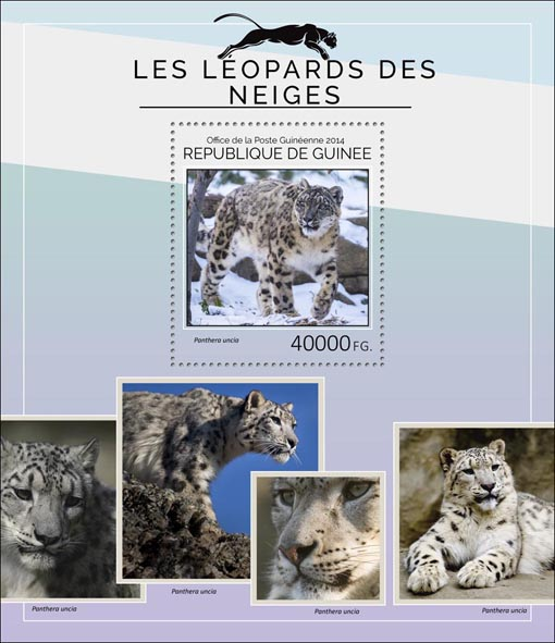 Snow leopards - Issue of Guinée postage stamps