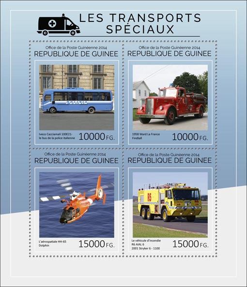 Special transport  - Issue of Guinée postage stamps