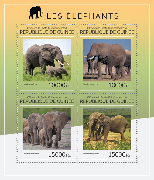Elephants - Issue of Guinée postage stamps