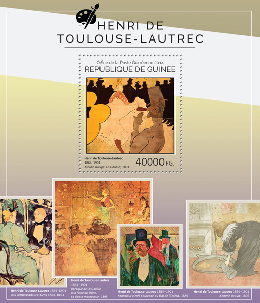 Henri de Toulouse-Lautrec - Issue of Guinée postage stamps