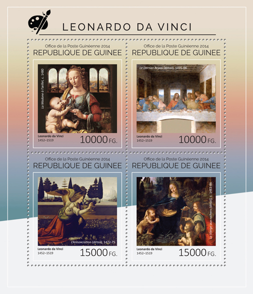 Leonardo da Vinci - Issue of Guinée postage stamps