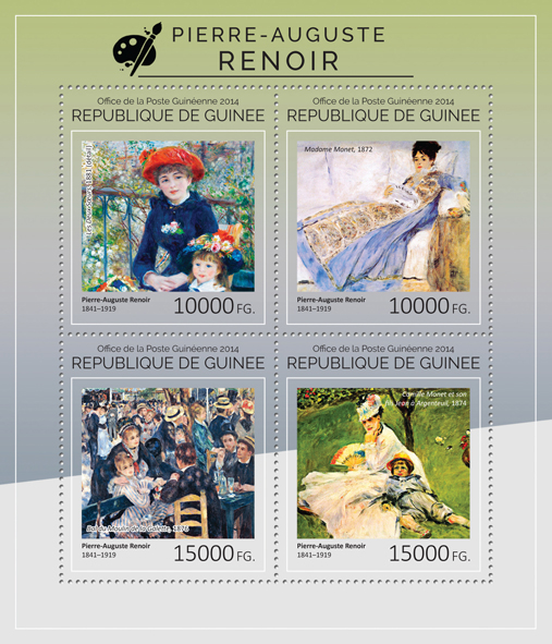 Pierre-Auguste Renoir - Issue of Guinée postage stamps