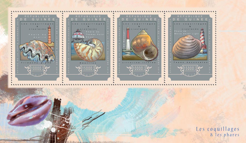 Shells and lighthouses - Issue of Guinée postage stamps
