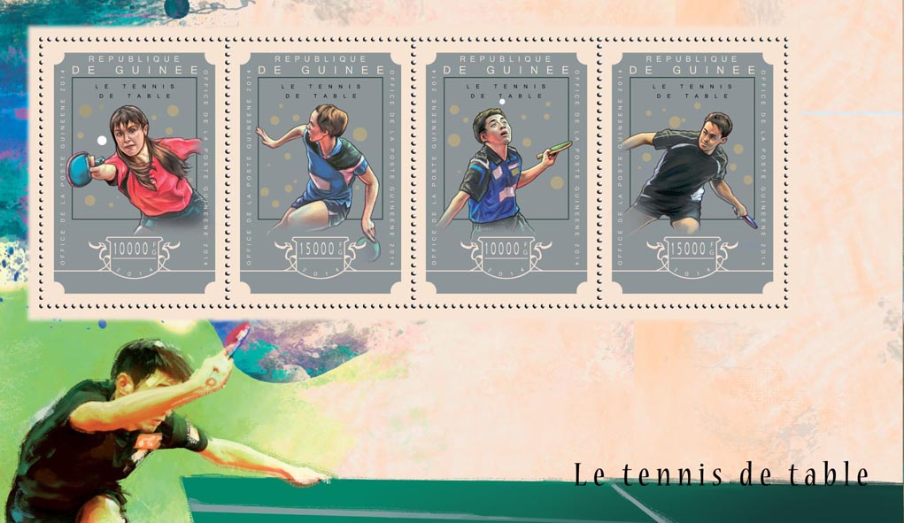Table tennis  - Issue of Guinée postage stamps