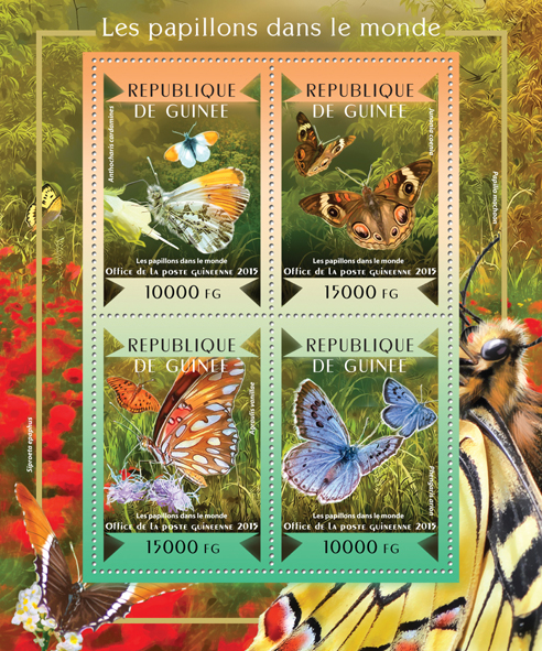 Butterflies of the World - Issue of Guinée postage stamps