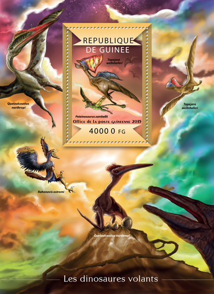 Flying dinosaurs - Issue of Guinée postage stamps