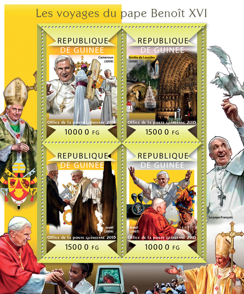 The journeys of pope Benedict XVI - Issue of Guinée postage stamps