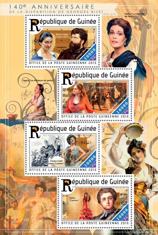 Georges Bizet - Issue of Guinée postage stamps