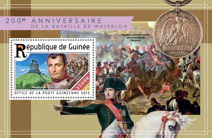 The battle of Waterloo - Issue of Guinée postage stamps