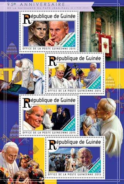 John Paul II - Issue of Guinée postage stamps