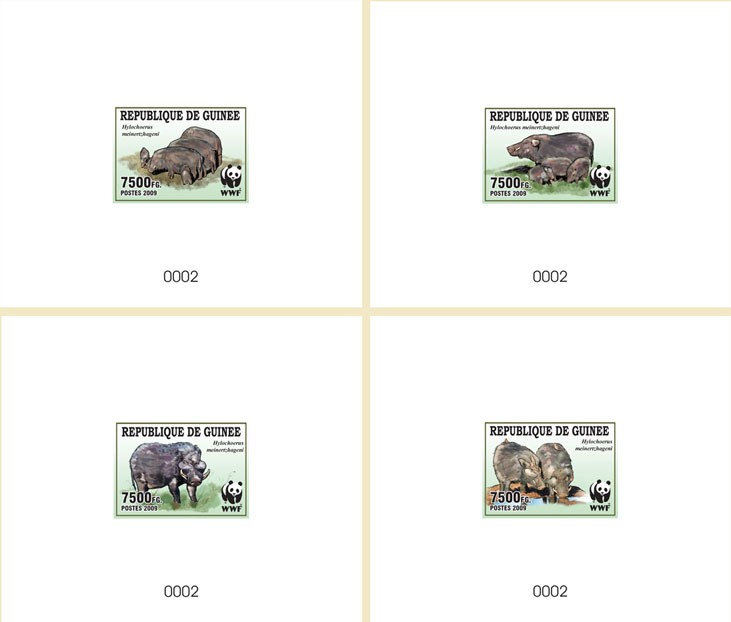 WWF Wild boar De Luxe sheet with single stamp 4 - Issue of Guinée postage stamps