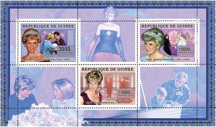 DIANA-BLUE 28 000 FG - Issue of Guinée postage stamps