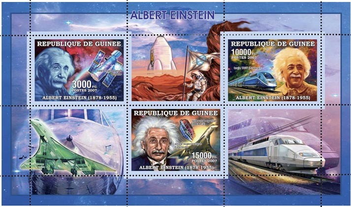 ALBERT EINSTEIN SPACE-CONCORDE-TRAIN 28 000 FG - Issue of Guinée postage stamps