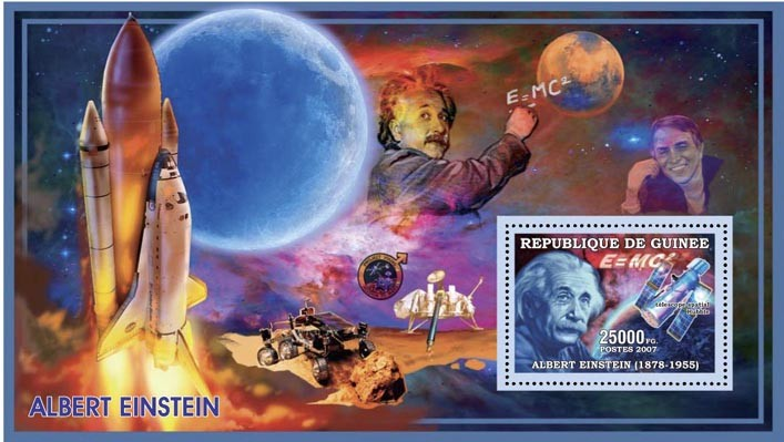 EINSTEIN - SPACE 25 000 FG - Issue of Guinée postage stamps