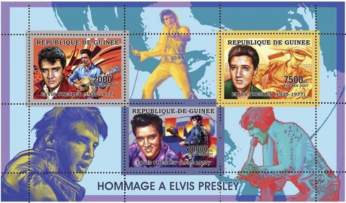 ELVIS PRESLEY 29 500 FG - Issue of Guinée postage stamps