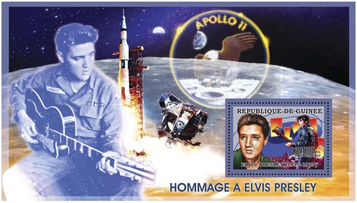 ELVIS PRESLEY - SPACE 25 000 FG - Issue of Guinée postage stamps