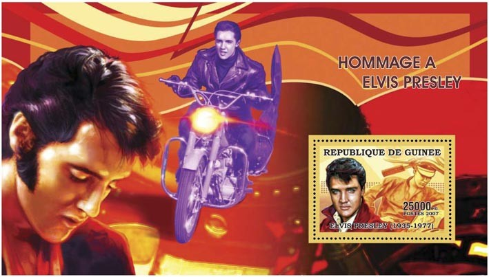 ELVIS PRESLEY - MOTO 25 000 FG - Issue of Guinée postage stamps