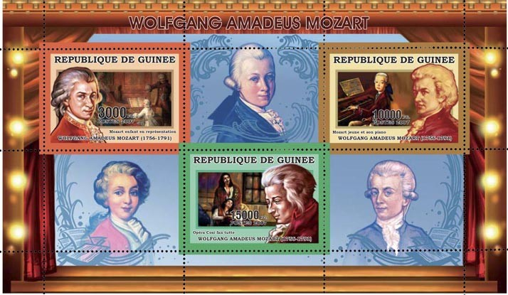 W.A.MOZART 28 000 FG - Issue of Guinée postage stamps