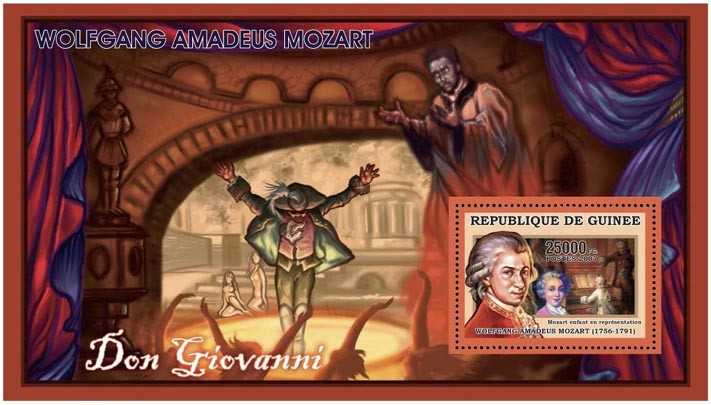 MOZART - DON GIOVANNI 25 000 FG - Issue of Guinée postage stamps