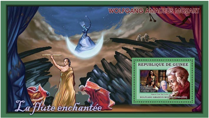 MOZART  LA FLUTE ENCHANTEE 25 000 FG - Issue of Guinée postage stamps