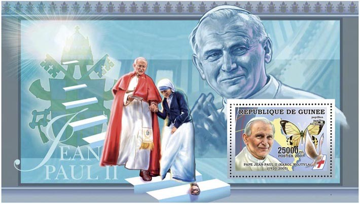 POPE JOHN PAUL II - BUTTERFLY 25 000 FG - Issue of Guinée postage stamps