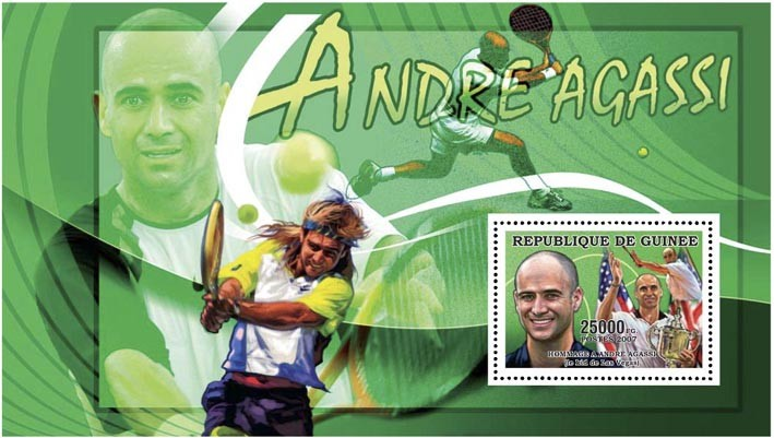 TENNIS - HOMAGE A AGASSI 25 000 FG - Issue of Guinée postage stamps