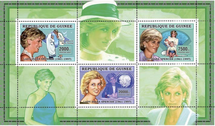 DIANA-VERTE-GREEN 3v - 29 500 FG - Issue of Guinée postage stamps