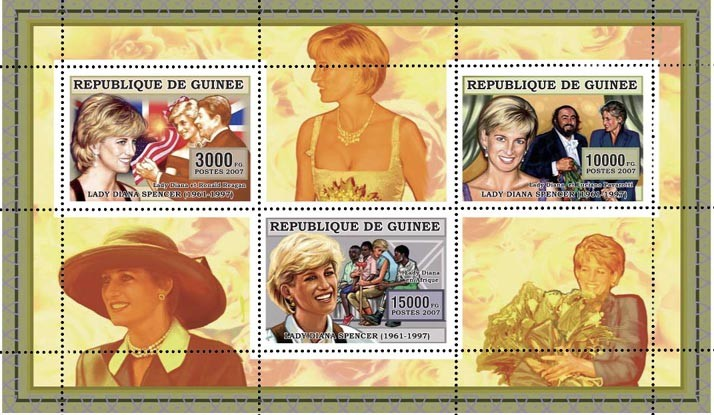 DIANA-JAUNE-YELLOW 3v - 28 000 FG - Issue of Guinée postage stamps