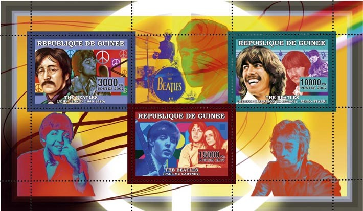 THE BEATLES 3v - 28 000 FG - Issue of Guinée postage stamps