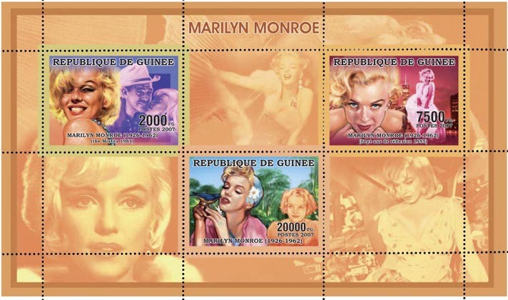 MARILYN MONROE - ORANGE 3v - 29 500 FG - Issue of Guinée postage stamps
