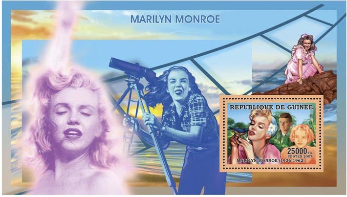MARILYN MONROE s/s - 25 000 FG - Issue of Guinée postage stamps