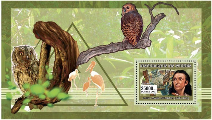 ORNITOLOGISTS - BIRDS s/s - 25 000 FG - Issue of Guinée postage stamps