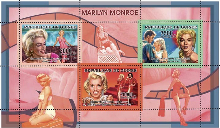 MARILYN MONROE - ROUGE - RED 3v - 29 500 FG - Issue of Guinée postage stamps