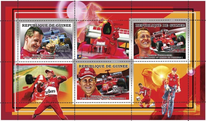 M. SCHUMACHER - FORMULA I 3v - 29 500 FG - Issue of Guinée postage stamps