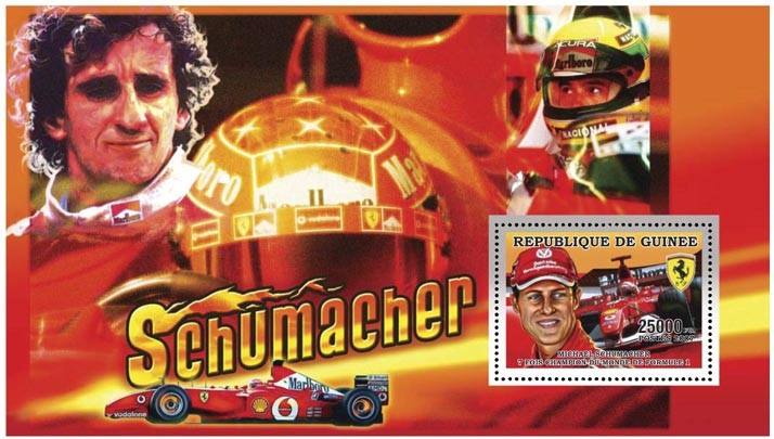 M. SCHUMACHER - FORMULA I s/s - 25 000 FG - Issue of Guinée postage stamps