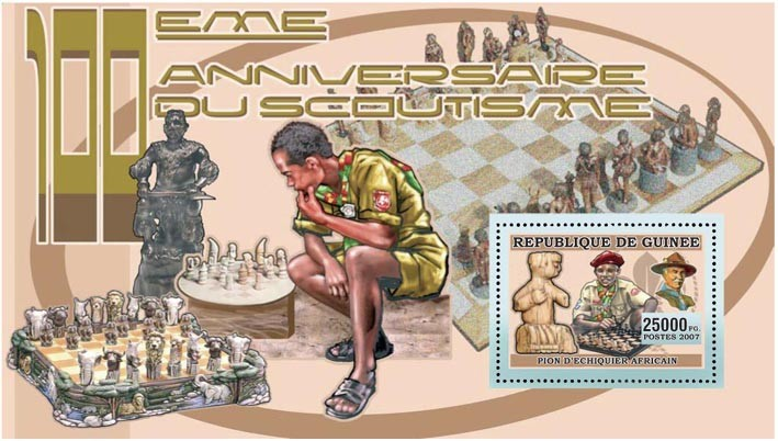 SCOUTS PLAYING CHESS s/s - 25 000 FG - Issue of Guinée postage stamps