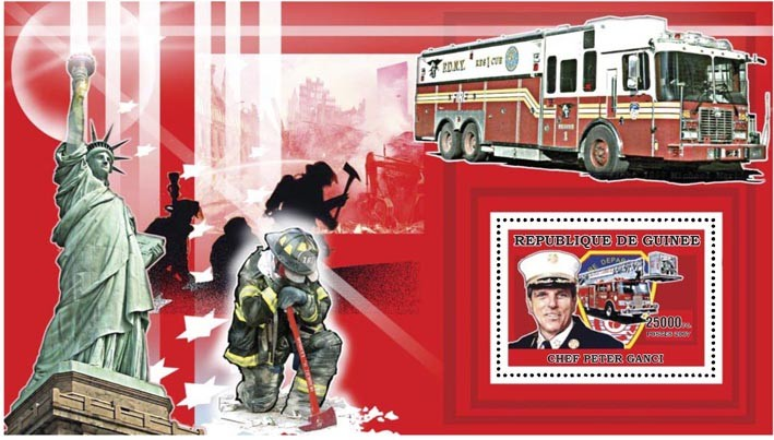 FIREMEN - FIRE ENGINES s/s - 25 000 FG - Issue of Guinée postage stamps