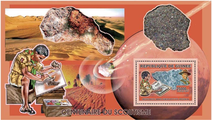 SCOUTS - MINERALS s/s - 25 000 FG - Issue of Guinée postage stamps