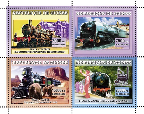 TRAINS A VAPEUR 4v 44 500 FG - Issue of Guinée postage stamps