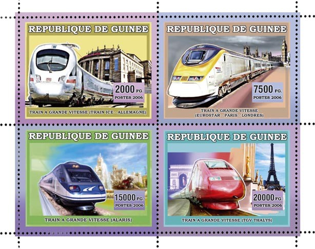 TRAINS A GRANDE VITESSE 4v 44 500 FG - Issue of Guinée postage stamps