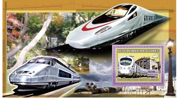 TRAIN - ICE ALLEMAGNE s/s 25 000 FG - Issue of Guinée postage stamps