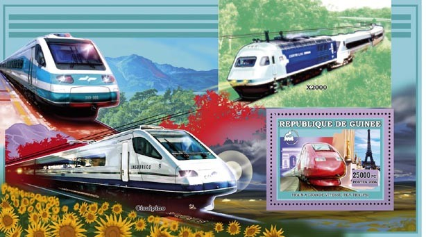 TGV - THALYS s/s 25 000 FG - Issue of Guinée postage stamps