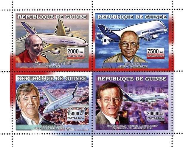 AVIONS AIRBUS A380 4v 44 500 FG - Issue of Guinée postage stamps
