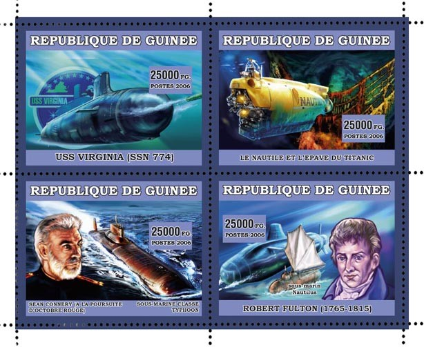 BATEAUX SOUSMARINES 4v 44 500 FG - Issue of Guinée postage stamps