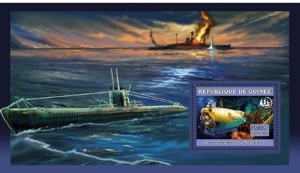 LE NAUTILLE ET LEPAVE DU TITANIC s/s 25 000 FG - Issue of Guinée postage stamps