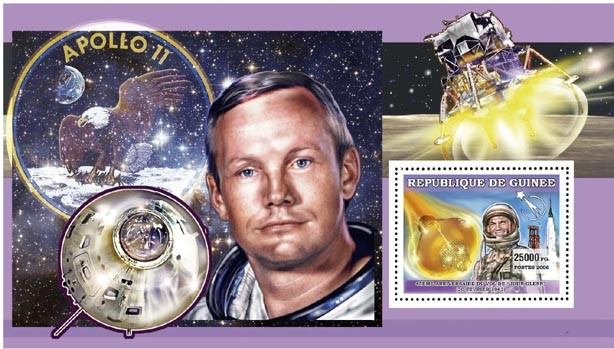 JOHN GLENN s/s 25 000 FG - Issue of Guinée postage stamps