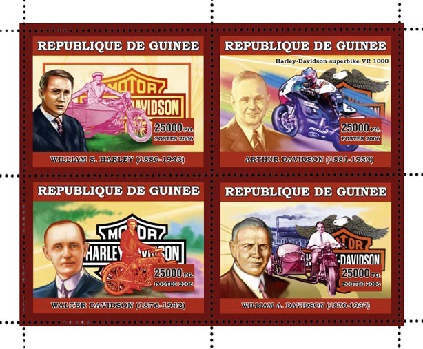 MOTOS - HARLEY DAVIDSON 4v 44 500 FG - Issue of Guinée postage stamps